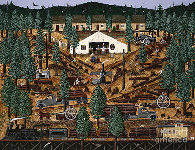 Logging Painting - Pacific Northwest Logging Memories by Jennifer Lake