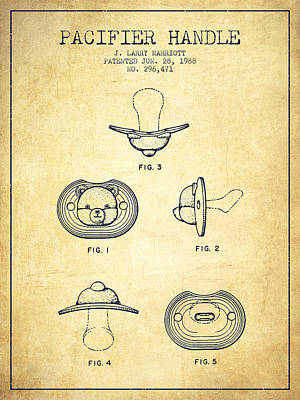 Dummy Drawing - Pacifier Handle Patent From 1988 - Vintage by Aged Pixel