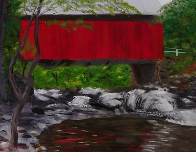 Covered Bridge Painting - Pack Saddle Bridge by Sally Jones