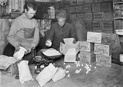 Rations Photograph - Packing Antarctic Sledging Rations by Scott Polar Research Institute