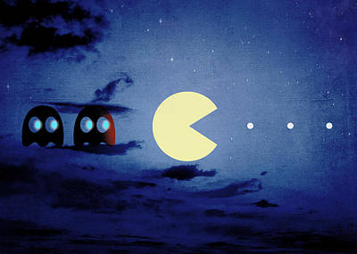 Pac Man Digital Art - Pacman Night-scape by Filippo B
