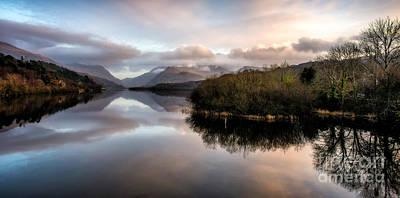 January Digital Art - Padarn Lake Sunset by Adrian Evans
