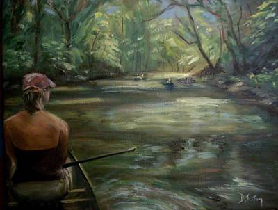 Waterscape Painting - Paddle Break by Donna Tuten