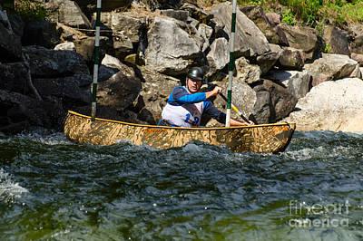 Canoe Photograph - Paddling A Solo Canoe by Les Palenik