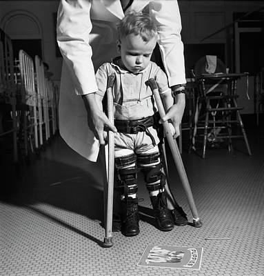 Crutch Photograph - Paediatric Physical Therapy by Library Of Congress