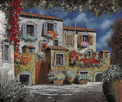 Old Village Painting - Paesaggio Al Chiar Di Luna by Guido Borelli