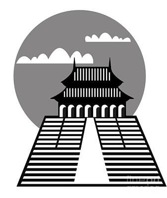Tourist Attraction Digital Art - Pagoda by Michal Boubin