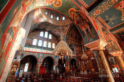 Russian Icon Photograph - Pagrati Athens Church Interior 4 by Deborah Smolinske