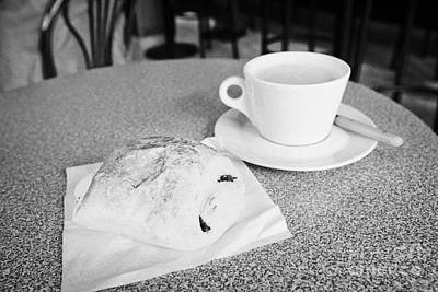 Pain Au Chocolate And Cafe Au Lait  In A Cafe Bar In France Print by Joe Fox