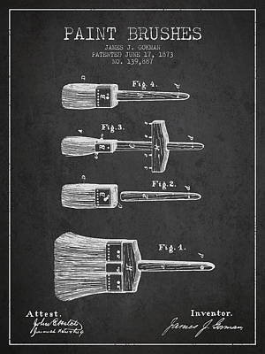 Vintage Painter Drawing - Paint Brushes Patent From 1873 - Charcoal by Aged Pixel