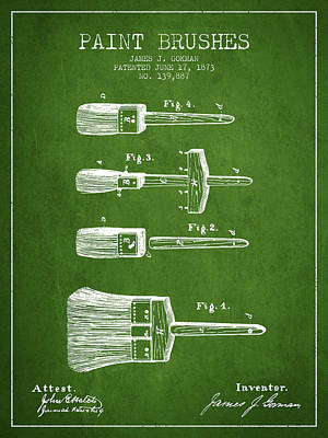 Vintage Painter Drawing - Paint Brushes Patent From 1873 - Green by Aged Pixel