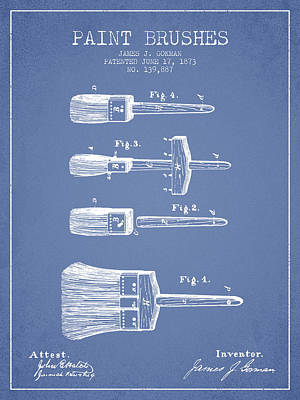 Vintage Painter Drawing - Paint Brushes Patent From 1873 - Light Blue by Aged Pixel