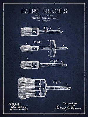 Vintage Painter Drawing - Paint Brushes Patent From 1873 - Navy Blue by Aged Pixel