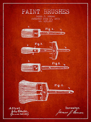 Vintage Painter Drawing - Paint Brushes Patent From 1873 - Red by Aged Pixel
