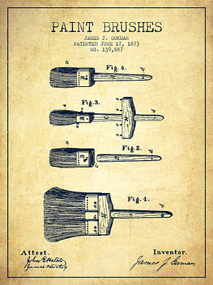 Vintage Painter Drawing - Paint Brushes Patent From 1873 - Vintage by Aged Pixel