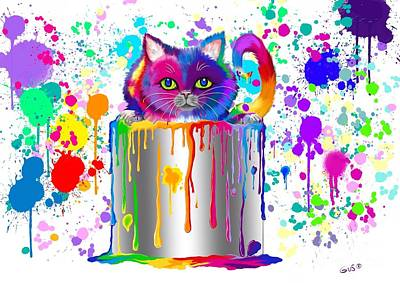 Painting - Paint Can Cat Too by Nick Gustafson