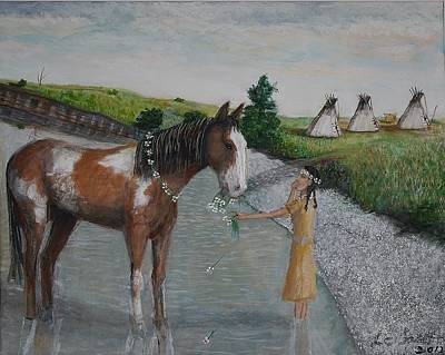 Pinto Painting - Paint Pony Original For Sale by Larry Lamb