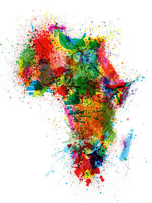 Paint Splashes Map Of Africa Map Print by Michael Tompsett
