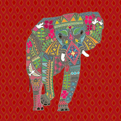 Bohemian Drawing - Painted Elephant Diamond by Sharon Turner