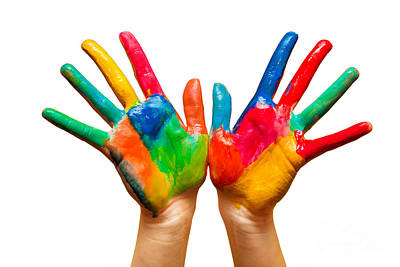Learning Photograph - Painted Hands On White by Michal Bednarek