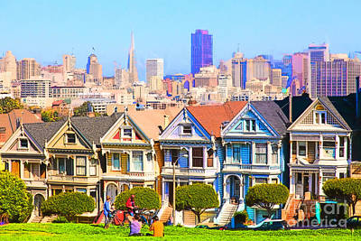 Bay Area Digital Art - Painted Ladies Of San Francisco Alamo Square 5d27996 by Wingsdomain Art and Photography