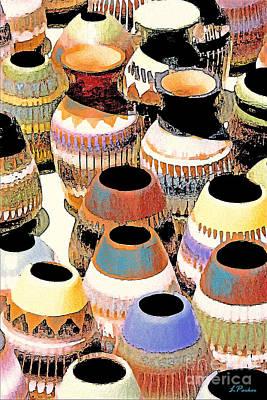 Impressionism Digital Art - Painted Pots Of The Southwest by Linda  Parker