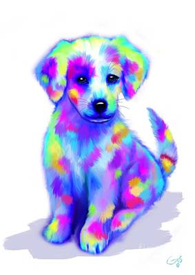 Puppies Digital Art - Painted Pup by Nick Gustafson