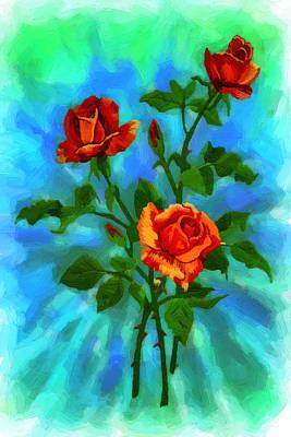 Grand Memories Painting - Painted Red Roses by John Haldane
