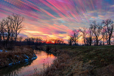 Indiana Winters Photograph - Painted Sky Of Pink And Blue by Jackie Novak