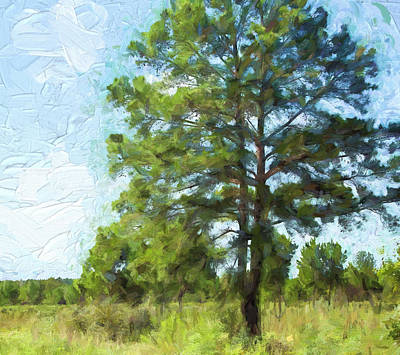 Painted Texas Pine Tree Original by Linda Phelps