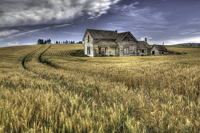 Grey Clouds Photograph - Painterly Farmhouse by Latah Trail Foundation
