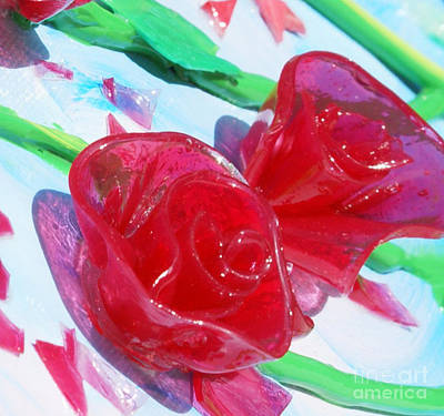 Painterly Stained Glass Looking Flowers Print by Ruth Collis