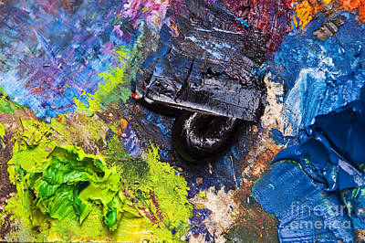 Artist Working Photograph - Painter's Palette by Delphimages Photo Creations