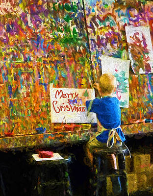 Painting My First Christmas Card Print by Sandi OReilly