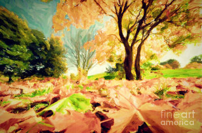 Autumn Photograph - Painting Of Autumn Fall Landscape In Park by Michal Bednarek