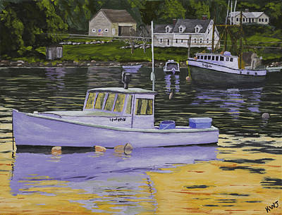 Maine Painting - Fishing Boats In Port Clyde Maine by Keith Webber Jr