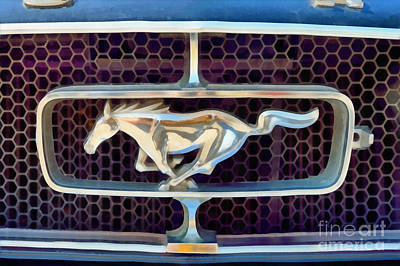 Mustang Painting - Painting Of Ford Mustang Badge by George Atsametakis