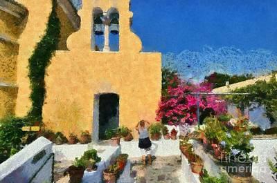 Abbey Painting - Painting Of Paleokastritsa Monastery by George Atsametakis