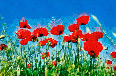 Poppy Painting - Painting Of Poppy Flowers by George Atsametakis