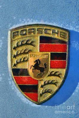 Painting Of Porsche Badge Print by George Atsametakis