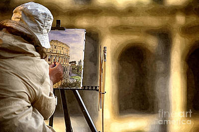 Painting The Colosseum Print by Stefano Senise