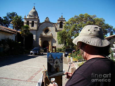 Painting The Mission Print by Eva Kato