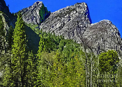 Cathedral Rock Mixed Media - Painting Three Brothers Peaks Yosemite Np by Bob and Nadine Johnston