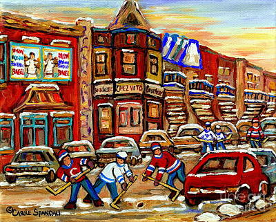Montreal Winter Scenes Painting - Paintings Of Fairmount Bagel Street Hockey Game Near Chez Vito Montreal Art Winter City Cspandau by Carole Spandau