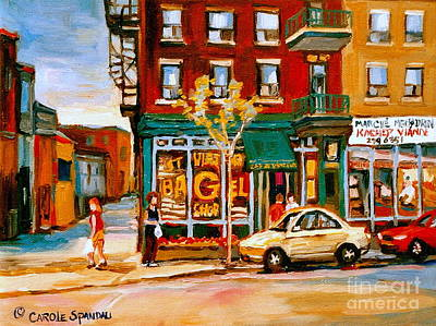 Montreal Bagels Painting - Paintings Of  Famous Montreal Places St. Viateur Bagel City Scene by Carole Spandau