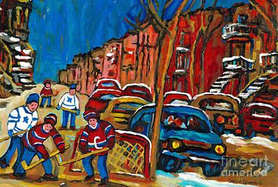 Paintings Of Montreal Hockey City Scenes Print by Carole Spandau