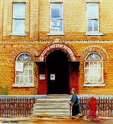 Montreal Buildings Painting - Paintings Of Montreal Memories Bagg Street Synagogue Corner Clark Near Moishes Street Scene  by Carole Spandau