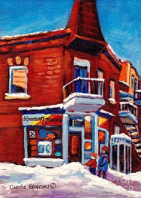 Paintings Of Verdun Depanneur 7 Jours Montreal Winter Street Scenes By Carole Spandau Print by Carole Spandau