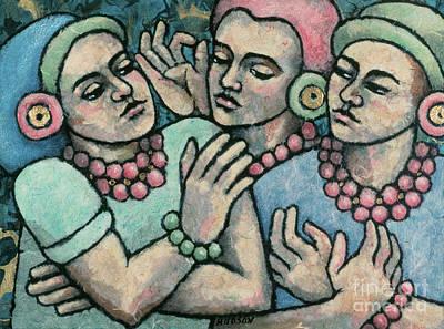 paintings of women - Girls from Borobudur Original by Sharon Hudson