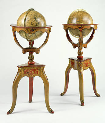 1730 Painting - Pair Of Globes Globes Designed And Assembled by Litz Collection